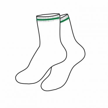 SDQ WHITE SOCKS GREEN STRP