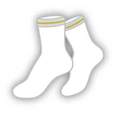 GRM WHITE SOCKS YELLOW STRP