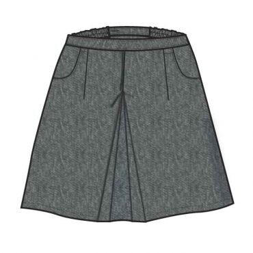 GIS GIRLS KNEE SKIRT GR 1-10 GREY