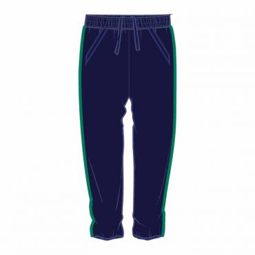 OOE UNISEX TRACK PANTS WITH GREEN PIPING