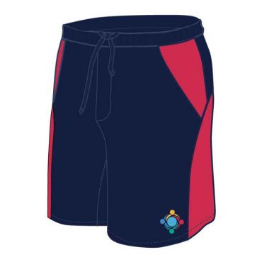 GWA UNISEX PE SHORTS NAVY/RED