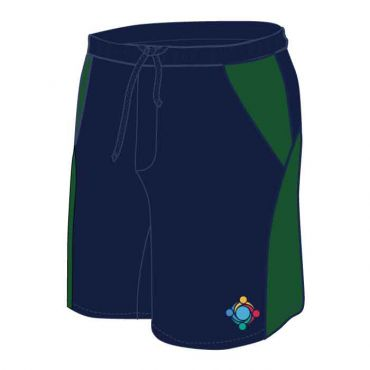 GWA UNISEX PE SHORTS NAVY/GREEN