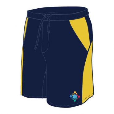 GWA UNISEX PE SHORTS NAVY/YELLOW